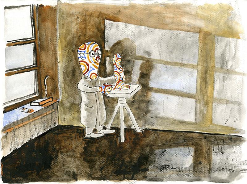 Ateljé,  akvarell 2008