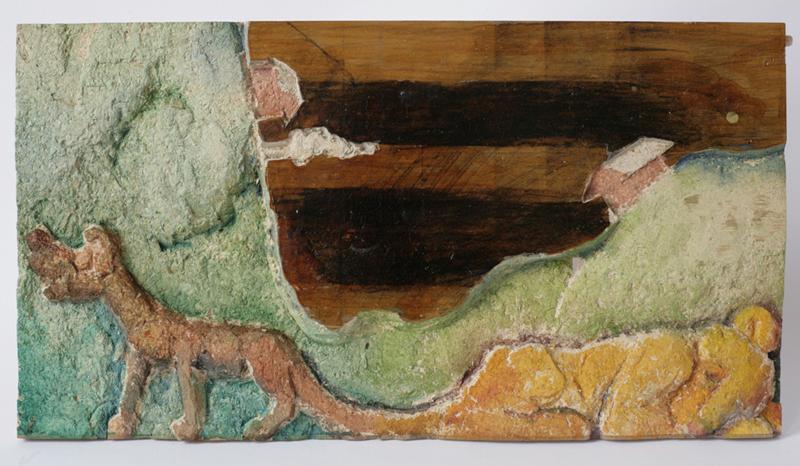 hund och lejon, trä, akvarell, kol 2005